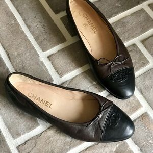CHANEL CC Brown and Black Flat 8.5